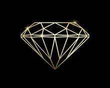 Abstract Luxury Template With Gold Diamond Outlined Shape