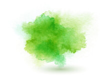 Abstract Pastel Background, Hand Made Green Splash, Aquarelle Watercolor Gradient, Vector Illustration.