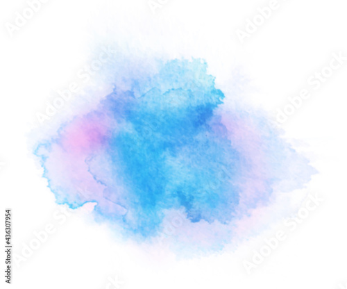 Abstract blue and purple watercolor on white background. Hand drawn color splashing isolated on white paper, vector illustration.