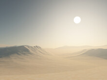3D Desert Landscape With Sand Dunes