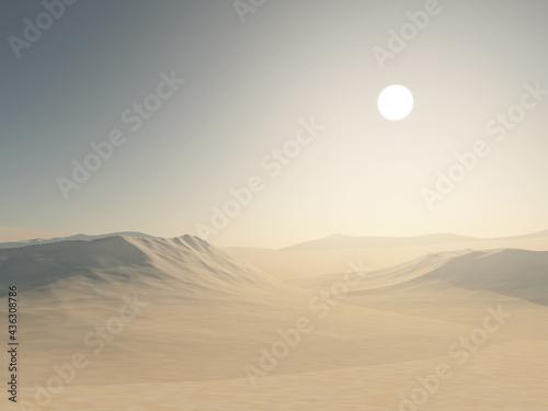 Photo 3D desert landscape with sand dunes