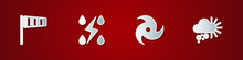 Set Cone Windsock Wind Vane, Storm, Tornado And Cloudy With Snow Icon. Vector