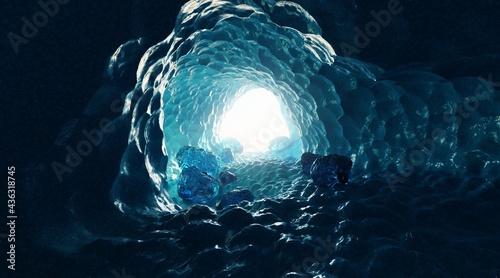 Fotografiet Realistic 3D Render of Frozen Cave