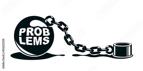 Shackles chain with weight metal ball vector concept isolated on white, concept of addiction or bad problems or debt, freedom and liberty, slavery and liberation, bad habits Fotobehang