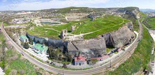 Fotografiet Aerial view of Bakhchisarai Holy Dormition Monastery, Crimea.