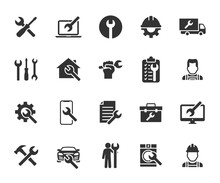 Vector Set Of Repair Flat Icons. Contains Icons Device Repair, Technical Support, Engineer, Tool Kit, Home Repair, Maintenance, List Works And More. Pixel Perfect.