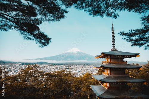 Slika na platnu 忠霊塔から見える富士山