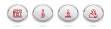 Set Line Ramadan Calendar, Lute, Burning Candle And Muslim Woman Hijab. Silver Circle Button. Vector