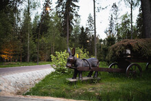 Statue Of A Donkey With A Cart In The Forest
