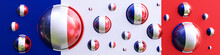 Realistic Hemispheres In The Colors Of The Flag Of France In An Abstract Composition Against The Background Of National Colors. 3D Rendering. Blank For Design. Layout. Abstraction. Minimalism.