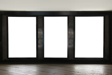 Blank Advertising Boards On Wall In Subway. Mockup For Design