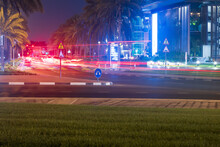 Night Street With Light Trails From The Cars. Concept