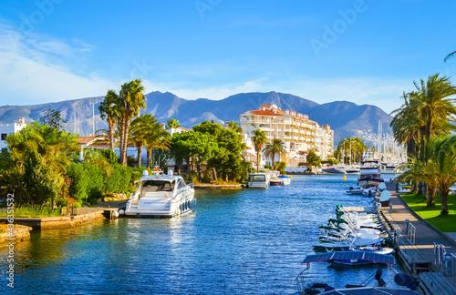 Fotografie, Obraz Summer panorama of Empuriabrava with yachts, boats and waterways in Costa Brava,