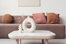 View Of Modern Scandinavian Style Interior With Sofa. Home Staging And Minimalism Concept