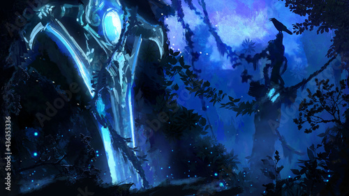 Foto A valley in the night light with many creepers and abandoned ruins, in the middle of it is stuck a beautiful glowing blue magic sword entangled with creepers