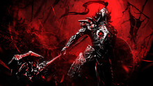 A Demonic Knight In Sinister Plate Armor And Helmet, Stands In A Dynamic Perspective Holding A Shield And A Huge Axe With The Head Of A Devil. Beyond It Is A Bloody Battlefield Littered With Corpses.