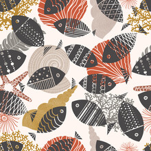 Cute Boho Fish. Vector Seamless Pattern.  Can Be Used In Textile Industry, Paper, Background, Scrapbooking.