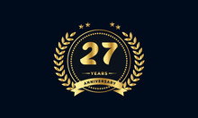 27th Golden Anniversary Logo, With Shiny Ring And Golden Ribbon, Laurel Wreath Isolated On Navy Blue Background