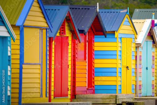 Canvastavla A row of colourful multi-coloured wooden beach huts at Brighton Beach, Melbourne