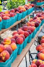 Rows Of Fresh Peaches In Blue Fiberboard Boxes, Farmers Market, Florida