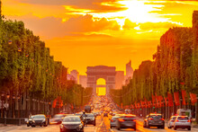 Golden Summer Sunset On The Champs Elysees In Paris