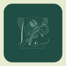 Woman And Cow Drawn In A Surreal Composition With Beige Lines On A Dark Green Background