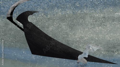 Fotografiet abstract cartoon illustration of death and prayer