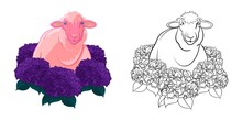 Pink Sheep In Flowers For Coloring