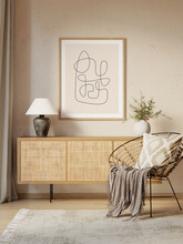 3d Interior With Wicker Sideboard, A Round Rattan Chair With Ikat Cushion And A Wooden Frame