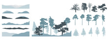 Design Elements Of Trees, Set. Silhouette Of Bare Tree, Pine, Spruce. Creation Of Beautiful Winter Landscape, Woodland, Park Or Forest. Vector Illustration.