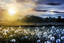 Day And Night Time Change Concept Above Dandelion Field In Rural Landscape. Beautiful Nature Scenery With Blooming Weeds. Clouds On The Sky With Sun And Moon Above The Distant Mountain