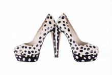 Stylish Vintage Black And White High-heeled Shoes Isolated On White Background