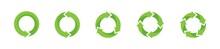 Green Refresh Recycle Refuse Reuse Circulation Vector Arrows Icons Set. Green Refresh Arrows Vector Set. Eco Refuse Icon Set. Logo Design. Vector Graphic