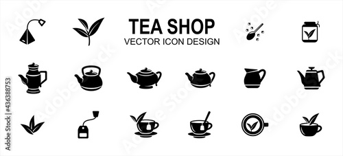 Fotografiet luxury tea shop drink related vector icon user interface graphic design