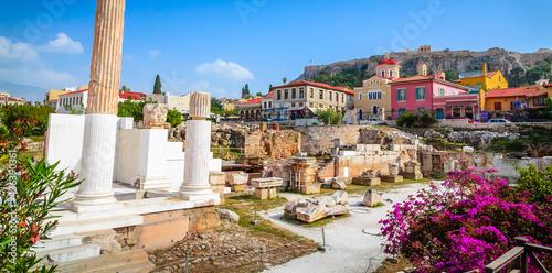 Canvas-taulu Beautiful Hadrian Library in Monastiraki square, Plaka District, Athens, Greece