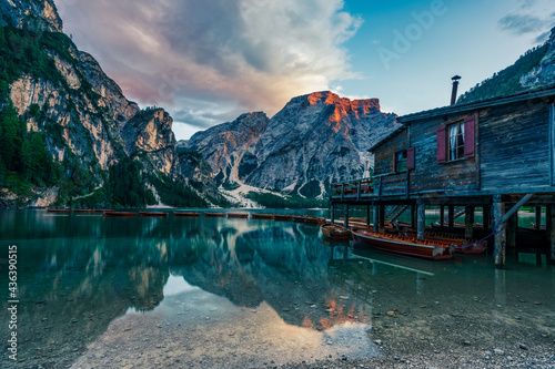 Leinwand Poster Panoramic view of the Braies Lake in the Dolomites in Italy.