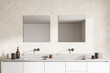 Spacious modern bathroom design interior in wood tones double sink vanity with square mirrors. Window light.