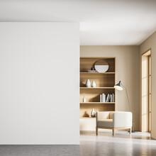 Beige Living Room Interior With Armchair And Bookshelf Near Window, Mockup