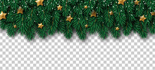 Merry Christmas And Happy New Year Winter Border With Pine Tree Branches, Golden Glitter Stars And Snow On Transparent Background. Vector Illustration. Xmas Frame Element For Card, Poster, Banner.