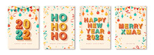 Set Of 2022 Merry Christmas And Happy New Year Cards Or Banners With Retro Typography Font Design. Vector Illustration. Streamers, Vintage Baubles Confetti And Hanging Flag Garlands. Place For Text