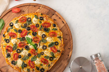 The Photo Shows A White Background. There Is A Pizza On A Beautiful Wooden Stand In The Left Corner. To The Right Of The Pizza Is A Small Saucepan Upside Down. There Is A Place For Your Insert.