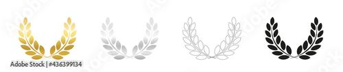 Fotografie, Obraz Laurel wreath set, golden, silver, outline and black version