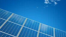 Solar Panel Isolated On A Blue Sky. Solar PV Modules. Clouds. 3D Illustration.