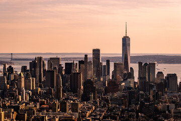 New York City - USA - Apr 3 2021: Pink Sunset Light Close Up View of One World Trade Lower Manhattan