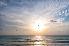 Sunrise In Ocean Or Sea Water With Silhouette Of Ship And Seagulls On Sunset Sky, Sky Sunrise.