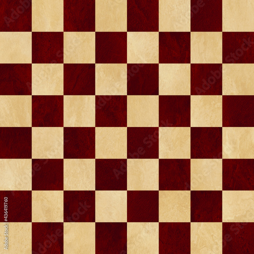 Red and tan checkered chess board background Fototapet