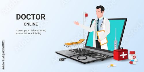 Online consultation doctor on laptop app Fototapeta