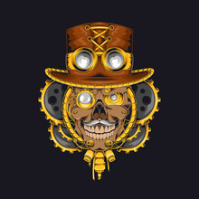 Skull Steampunk Illustration Vector Template