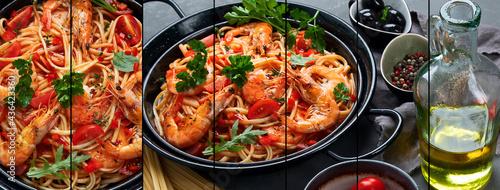 Fotografiet Collage of pasta with shrimps in tomato sauce. Italian cuisine.