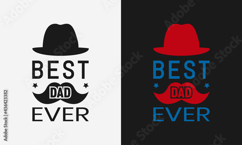Canvas-taulu best dad ever lettering, fathers day isolated hand drawn typography design for g